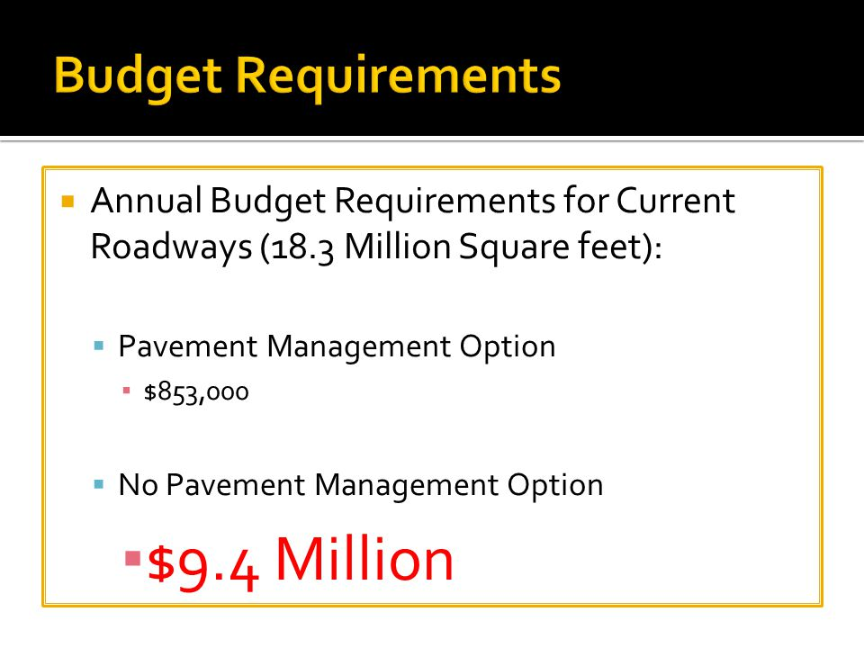  Annual Budget Requirements for Current Roadways (18.3 Million Square feet):  Pavement Management Option ▪ $853,000  No Pavement Management Option