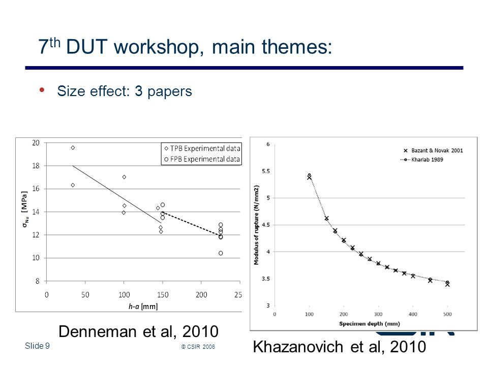 Slide 9 7 th DUT workshop, main themes: © CSIR 2006 www.csir.co.za Size effect: 3 papers Denneman et al, 2010 Khazanovich et al, 2010