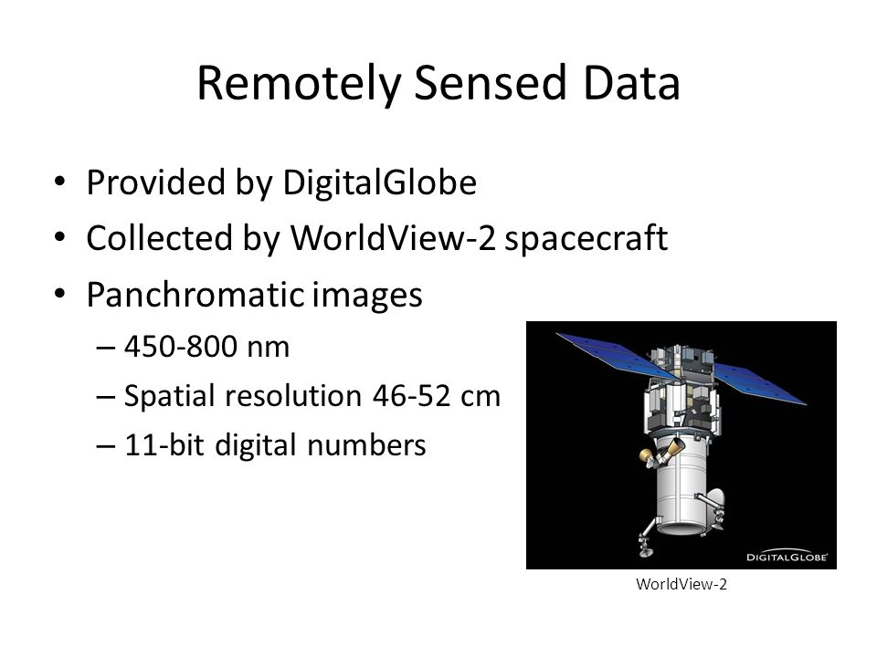 Remotely Sensed Data Provided by DigitalGlobe Collected by WorldView-2 spacecraft Panchromatic images – 450-800 nm – Spatial resolution 46-52 cm – 11-bit digital numbers WorldView-2