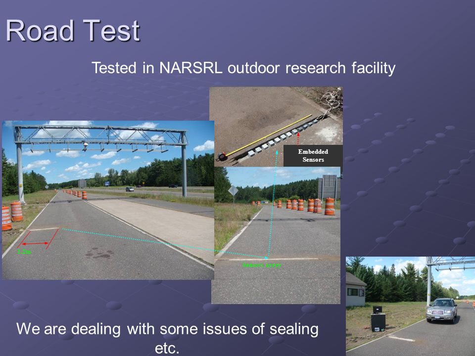 19 Road Test Tested in NARSRL outdoor research facility Embedded Sensors Sensors array 1.2m We are dealing with some issues of sealing etc.
