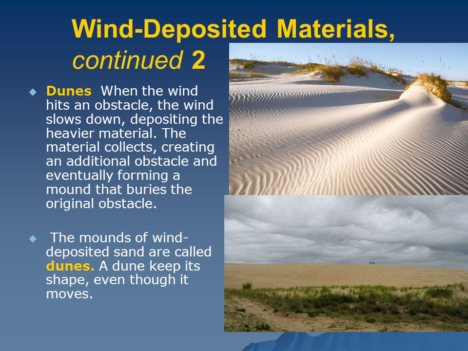Wind-Deposited Materials, continued 2   Dunes When the wind hits an obstacle, the wind slows down, depositing the heavier material.