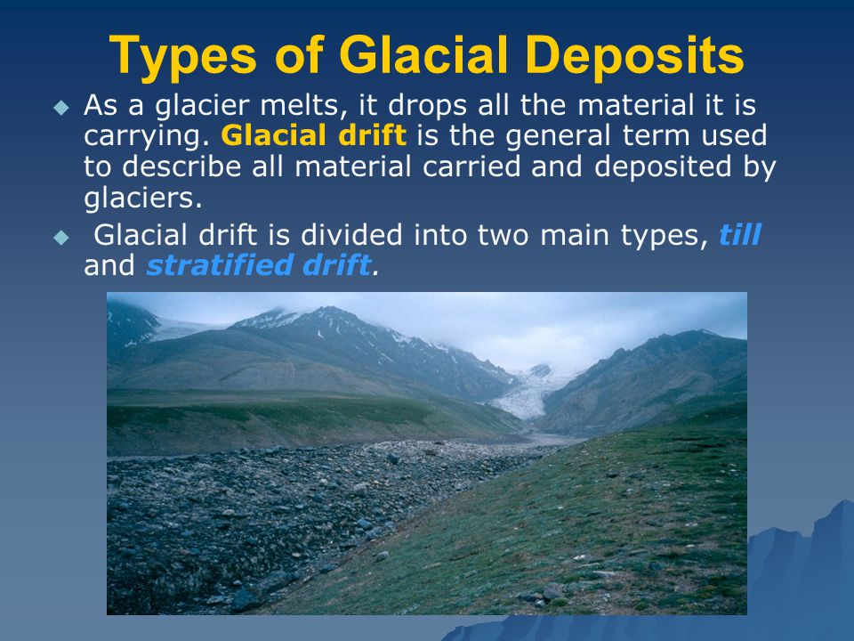 Types of Glacial Deposits   As a glacier melts, it drops all the material it is carrying.
