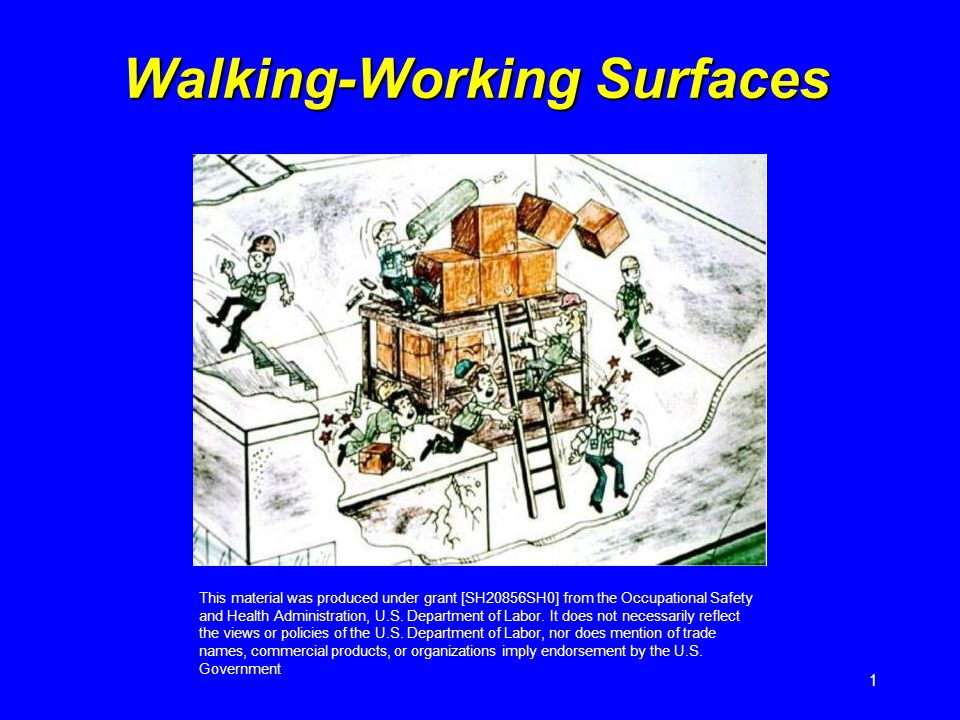 1 Walking-Working Surfaces This material was produced under grant [SH20856SH0] from the Occupational Safety and Health Administration, U.S. Department