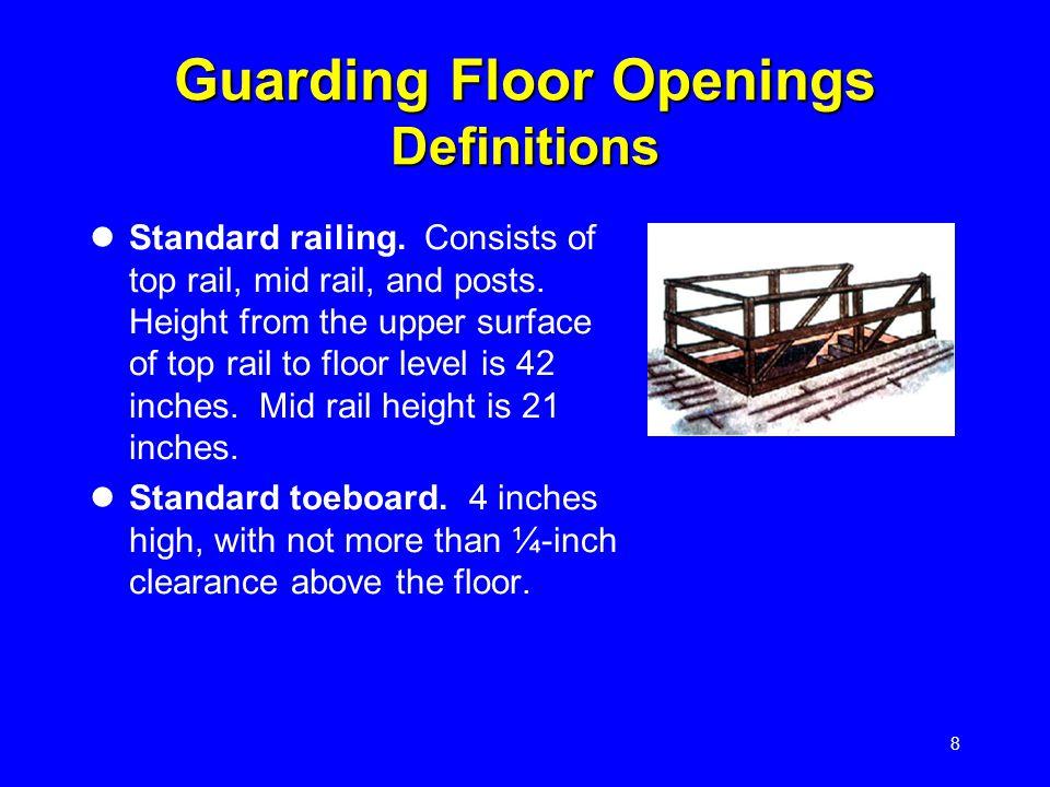 8 Guarding Floor Openings Definitions Standard railing.