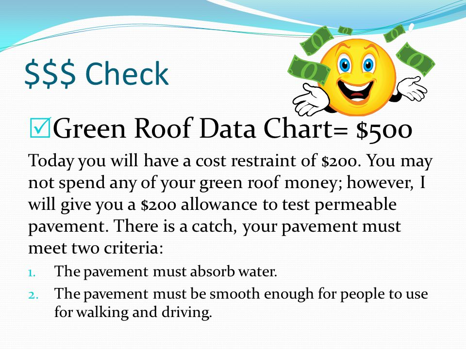 $$$ Check  Green Roof Data Chart= $500 Today you will have a cost restraint of $200.