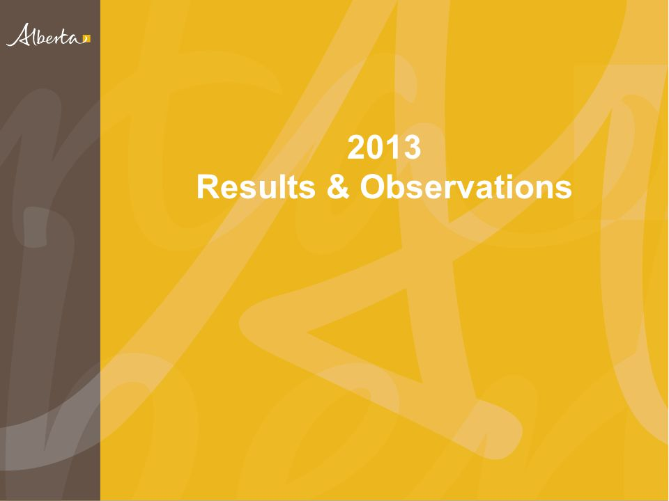 2013 Results & Observations