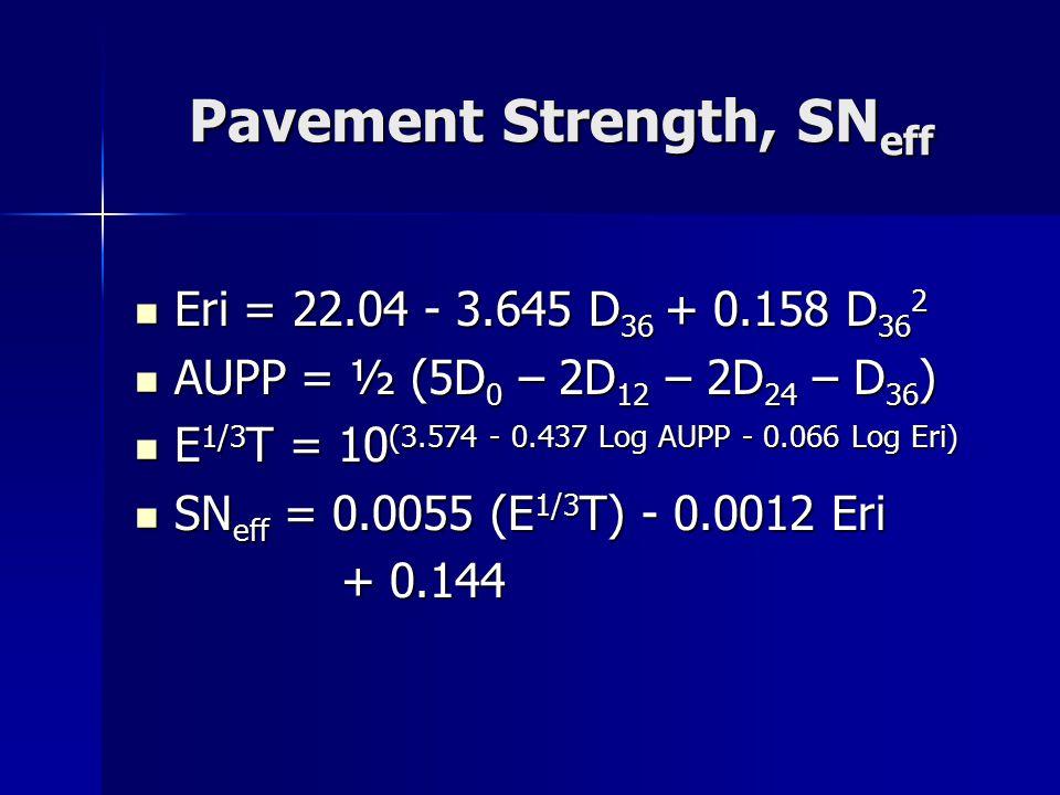 Pavement Strength, SN eff Eri = 22.04 - 3.645 D 36 + 0.158 D 36 2 Eri = 22.04 - 3.645 D 36 + 0.158 D 36 2 AUPP = ½ (5D 0 – 2D 12 – 2D 24 – D 36 ) AUPP = ½ (5D 0 – 2D 12 – 2D 24 – D 36 ) E 1/3 T = 10 (3.574 - 0.437 Log AUPP - 0.066 Log Eri) E 1/3 T = 10 (3.574 - 0.437 Log AUPP - 0.066 Log Eri) SN eff = 0.0055 (E 1/3 T) - 0.0012 Eri SN eff = 0.0055 (E 1/3 T) - 0.0012 Eri + 0.144 + 0.144