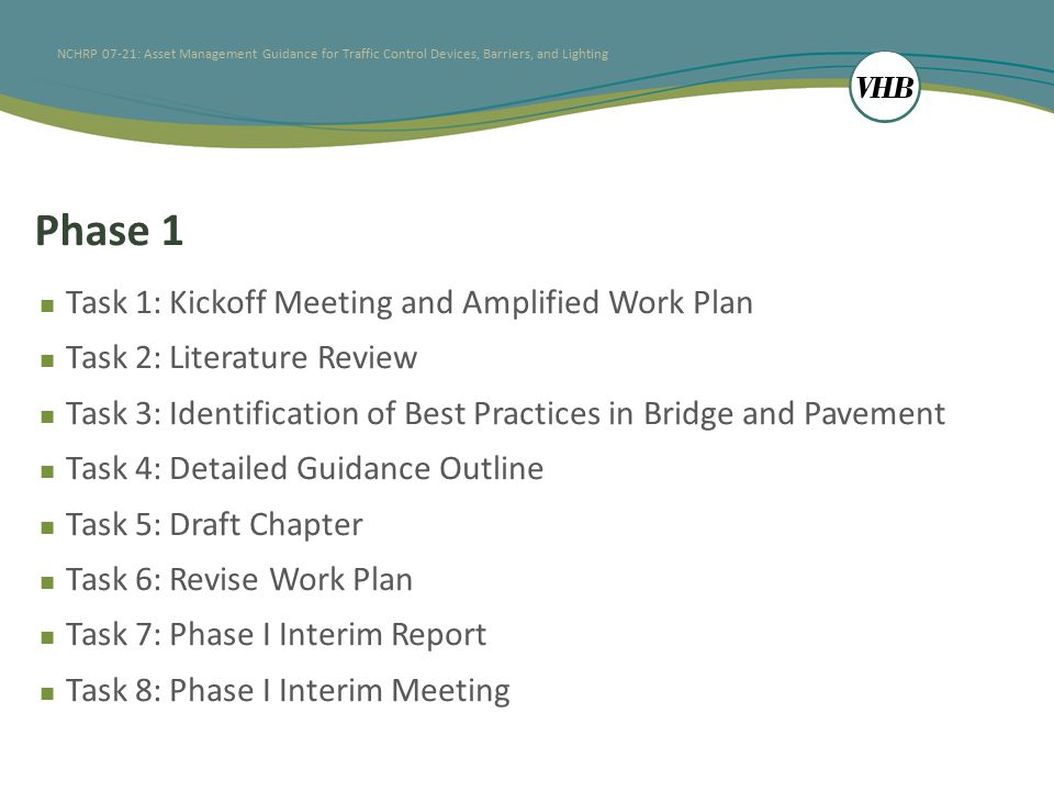 NCHRP 07-21: Asset Management Guidance for Traffic Control Devices, Barriers, and Lighting Phase 1 Task 1: Kickoff Meeting and Amplified Work Plan Task 2: Literature Review Task 3: Identification of Best Practices in Bridge and Pavement Task 4: Detailed Guidance Outline Task 5: Draft Chapter Task 6: Revise Work Plan Task 7: Phase I Interim Report Task 8: Phase I Interim Meeting