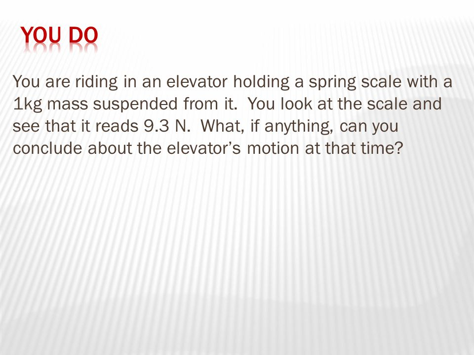 You are riding in an elevator holding a spring scale with a 1kg mass suspended from it.