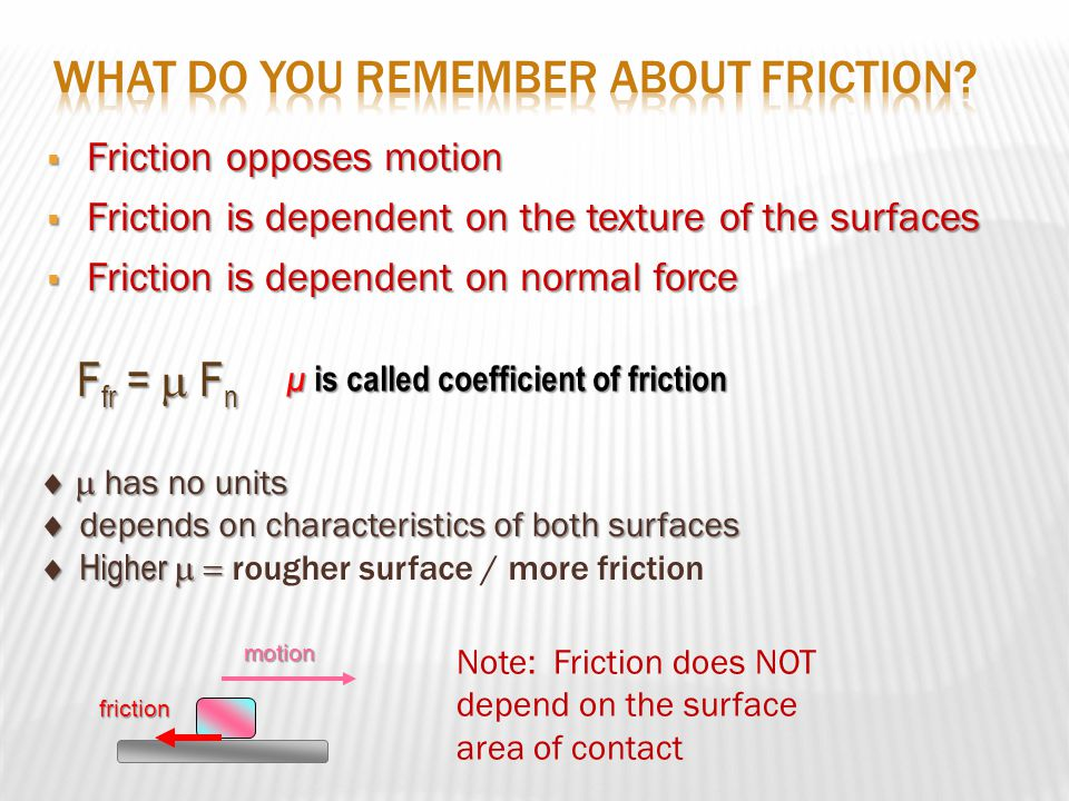  Friction opposes motion  Friction is dependent on the texture of the surfaces  Friction is dependent on normal force F fr =  F n μ is called coefficient of friction  has no units  depends on characteristics of both surfaces  Higher   Higher  rougher surface / more frictionmotionfriction Note: Friction does NOT depend on the surface area of contact