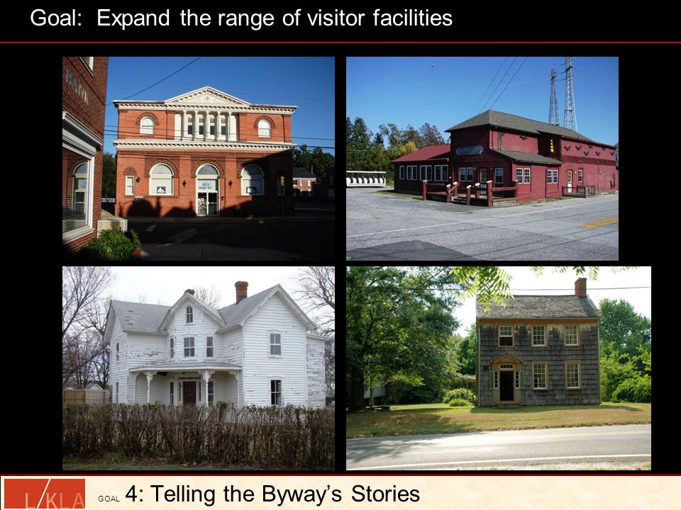 GOAL 4: Telling the Byway's Stories Goal: Expand the range of visitor facilities