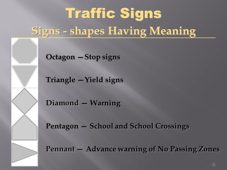 Octagon —Stop signs Triangle — Yield signs Diamond Diamond — Warning Pentagon — School and School Crossings Pennant Pennant — Advance warning of No Pa