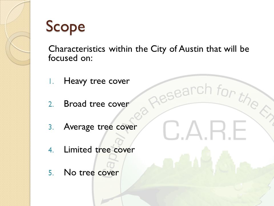 Scope Characteristics within the City of Austin that will be focused on: 1.
