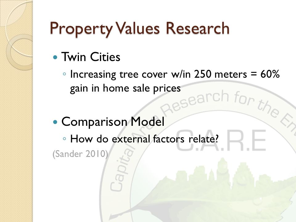 Property Values Research Twin Cities ◦ Increasing tree cover w/in 250 meters = 60% gain in home sale prices Comparison Model ◦ How do external factors relate.