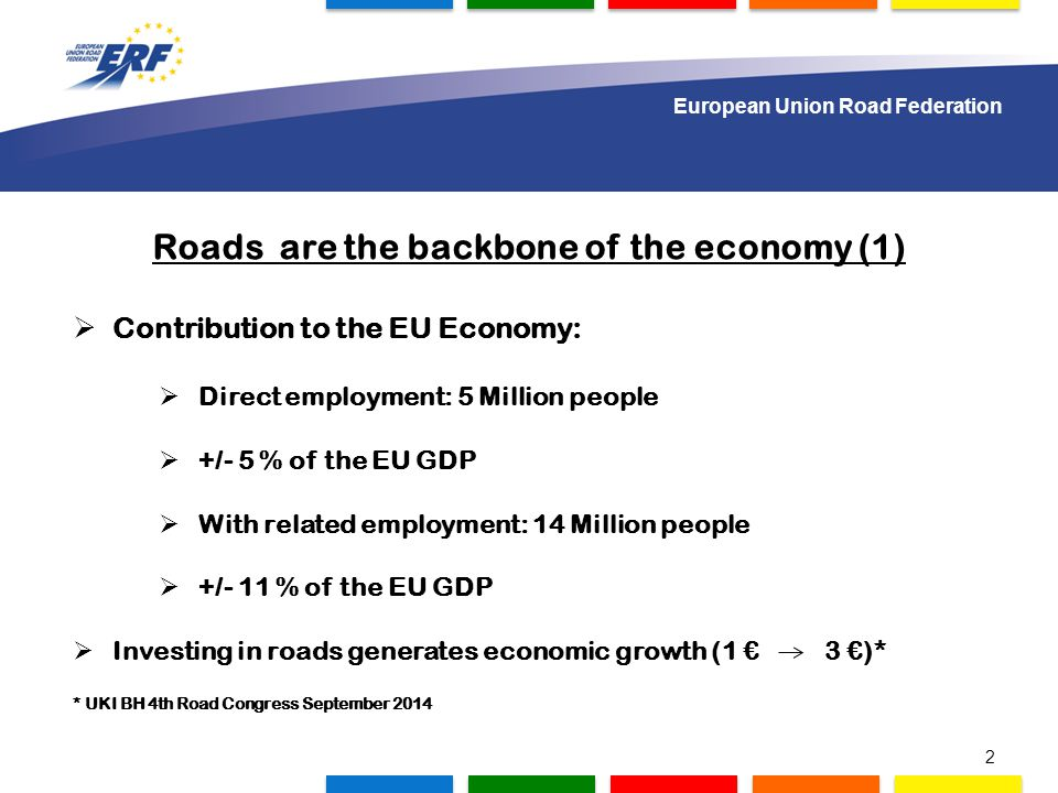 1.000 delegates to gather in Lisbon Roads are the backbone of the economy (1)  Contribution to the EU Economy:  Direct employment: 5 Million people