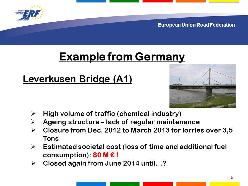 1.000 delegates to gather in Lisbon Example from Germany Leverkusen Bridge (A1)  High volume of traffic (chemical industry)  Ageing structure – lack