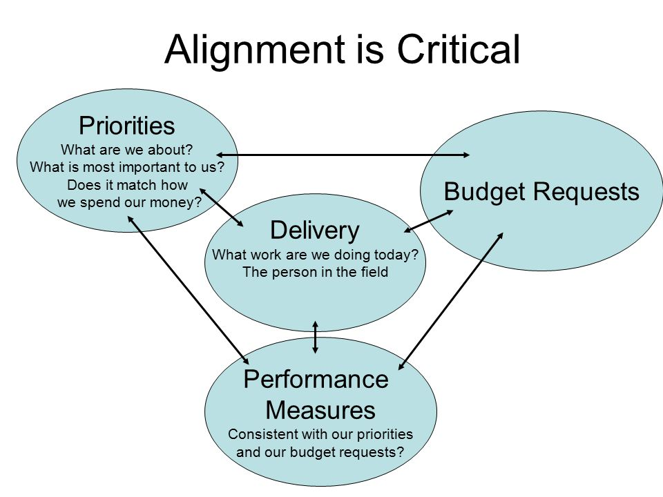 Alignment is Critical Priorities What are we about.