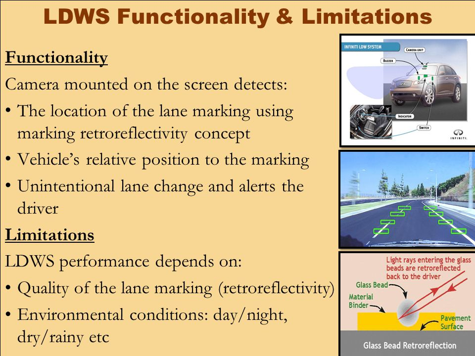 LDWS Functionality & Limitations Functionality Camera mounted on the screen detects: The location of the lane marking using marking retroreflectivity concept Vehicle's relative position to the marking Unintentional lane change and alerts the driver Limitations LDWS performance depends on: Quality of the lane marking (retroreflectivity) Environmental conditions: day/night, dry/rainy etc