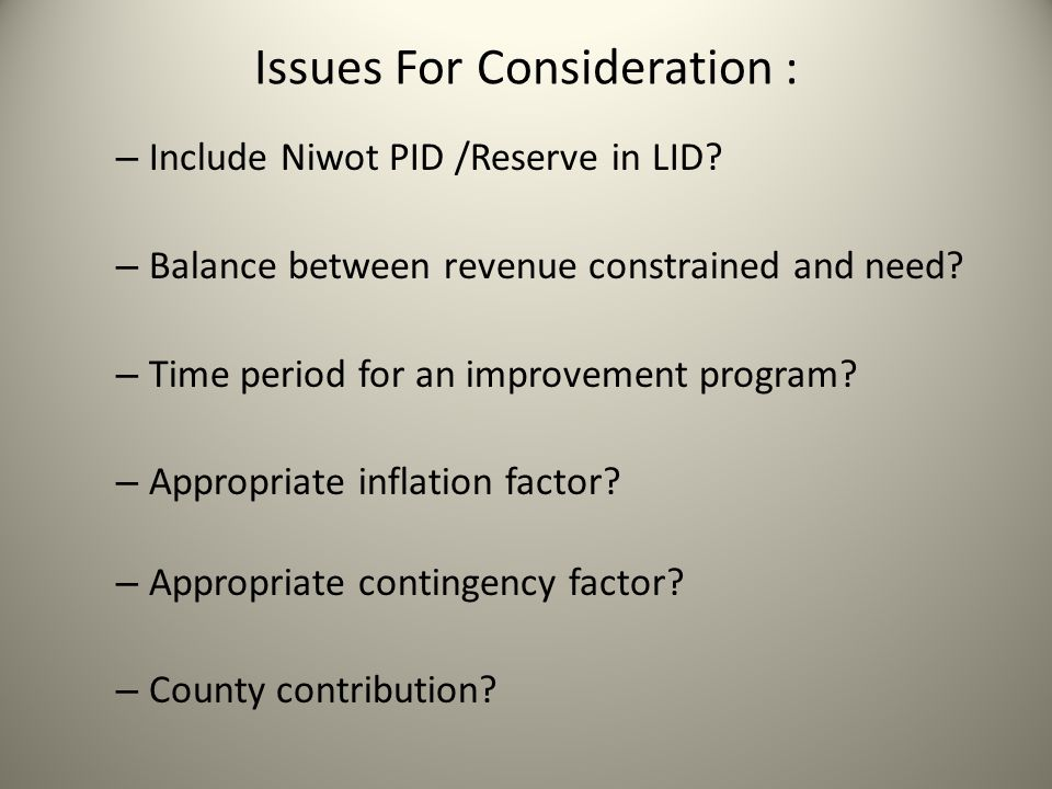 Issues For Consideration : – Include Niwot PID /Reserve in LID.