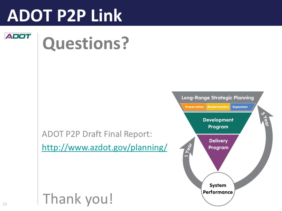 Questions Thank you! ADOT P2P Link 12 ADOT P2P Draft Final Report: http://www.azdot.gov/planning/