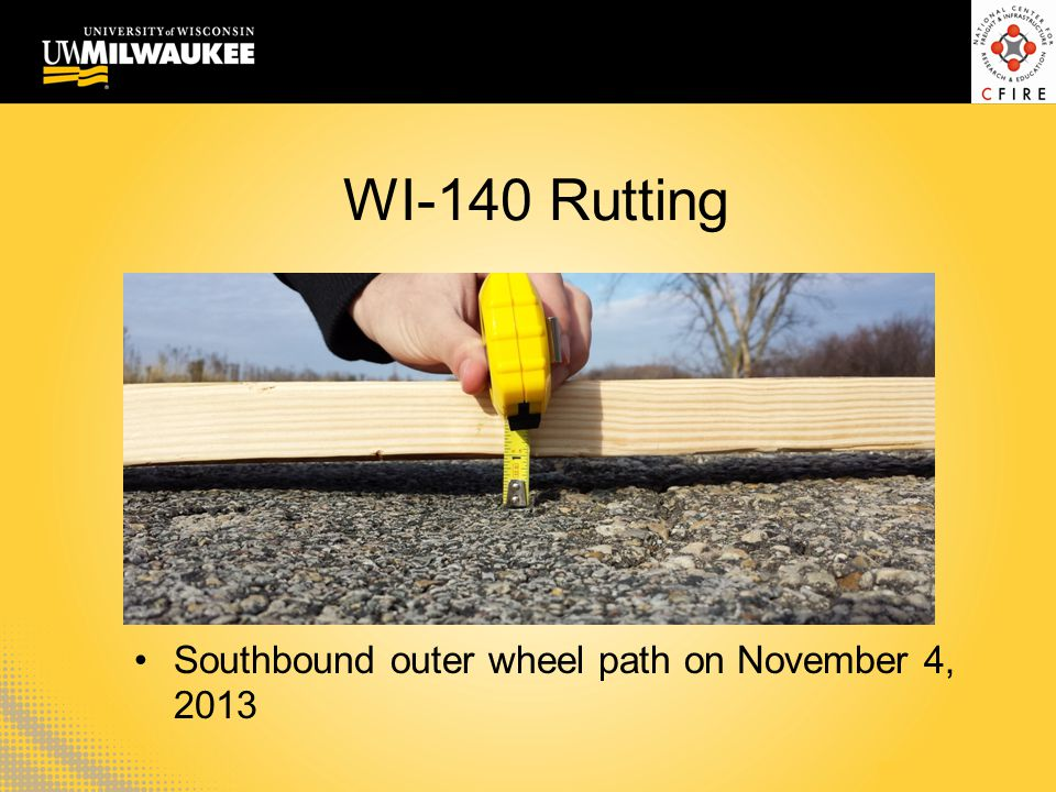 WI-140 Rutting Southbound outer wheel path on November 4, 2013