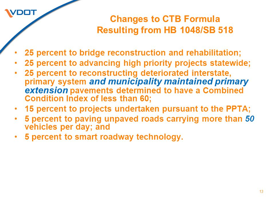 13 Changes to CTB Formula Resulting from HB 1048/SB 518 25 percent to bridge reconstruction and rehabilitation; 25 percent to advancing high priority projects statewide; 25 percent to reconstructing deteriorated interstate, primary system and municipality maintained primary extension pavements determined to have a Combined Condition Index of less than 60; 15 percent to projects undertaken pursuant to the PPTA; 5 percent to paving unpaved roads carrying more than 50 vehicles per day; and 5 percent to smart roadway technology.
