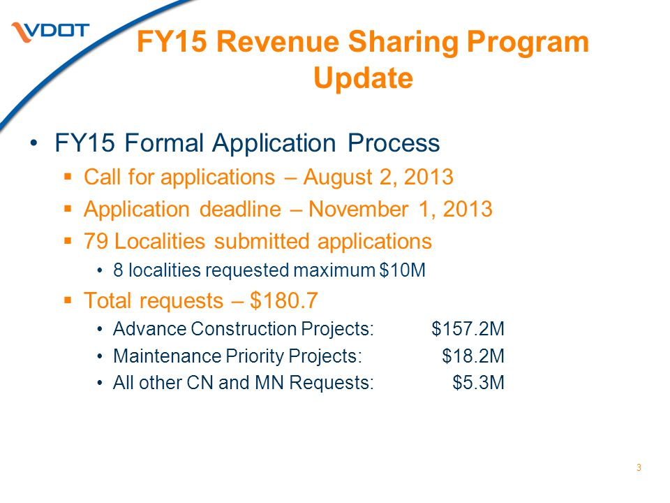4 FY15 Revenue Sharing Requests Applicant Localities Will insert updated map here