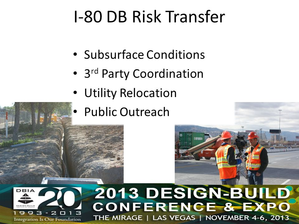 I-80 DB Risk Transfer Subsurface Conditions 3 rd Party Coordination Utility Relocation Public Outreach