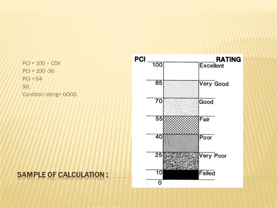 PCI = 100 – CDV PCI = 100 -36 PCI = 64 SO, Condition rating= GOOD