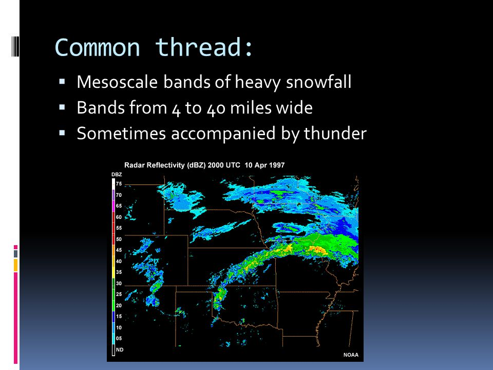 Common thread:  Mesoscale bands of heavy snowfall  Bands from 4 to 40 miles wide  Sometimes accompanied by thunder