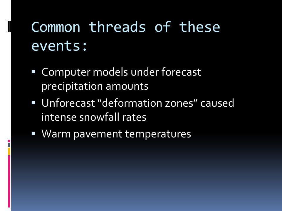Common threads of these events:  Computer models under forecast precipitation amounts  Unforecast deformation zones caused intense snowfall rates  Warm pavement temperatures