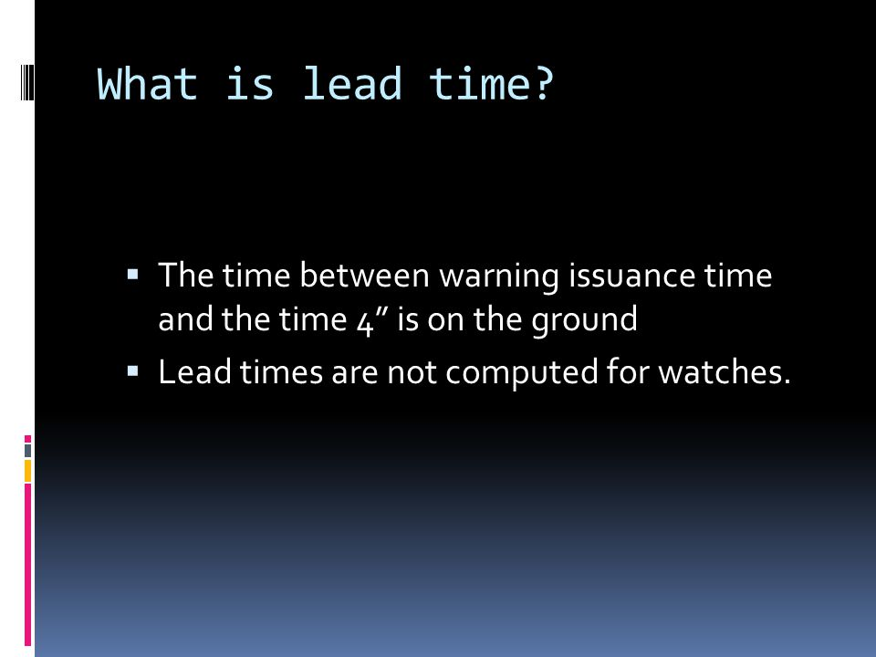 What is lead time.