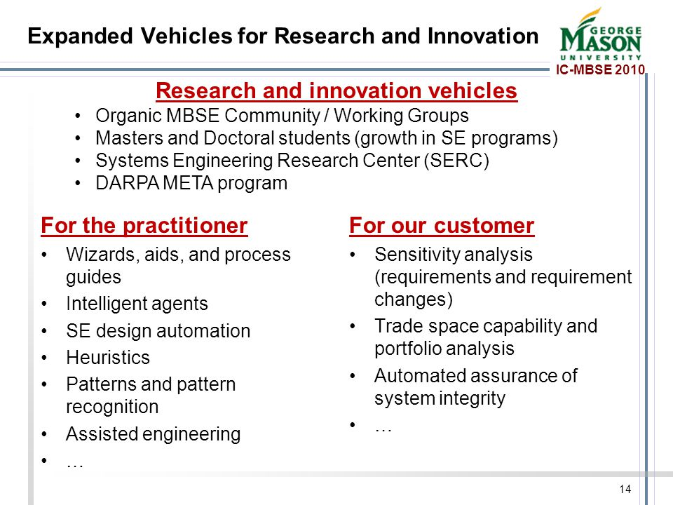 IC-MBSE 2010 Expanded Vehicles for Research and Innovation For the practitioner Wizards, aids, and process guides Intelligent agents SE design automation Heuristics Patterns and pattern recognition Assisted engineering … For our customer Sensitivity analysis (requirements and requirement changes) Trade space capability and portfolio analysis Automated assurance of system integrity … 14 Research and innovation vehicles Organic MBSE Community / Working Groups Masters and Doctoral students (growth in SE programs) Systems Engineering Research Center (SERC) DARPA META program
