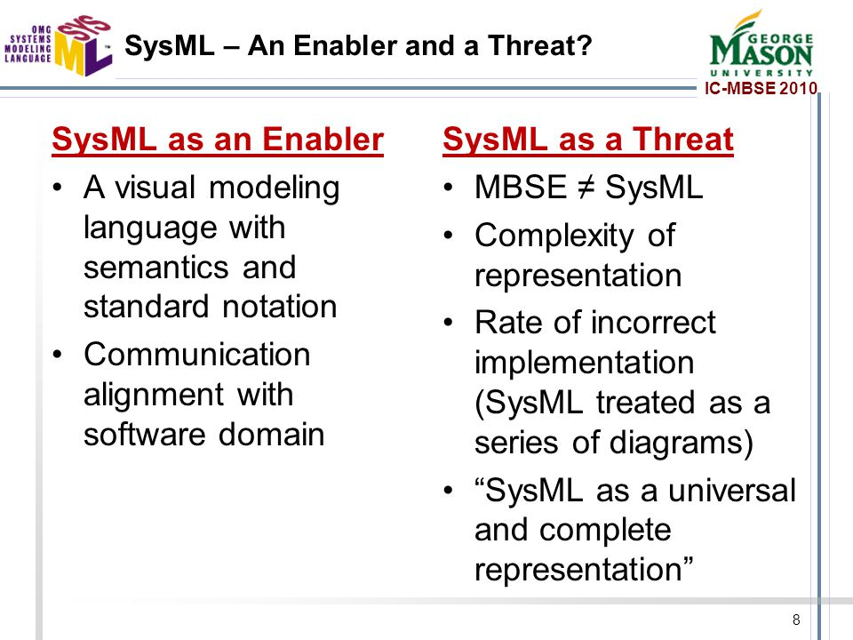 IC-MBSE 2010 SysML – An Enabler and a Threat.