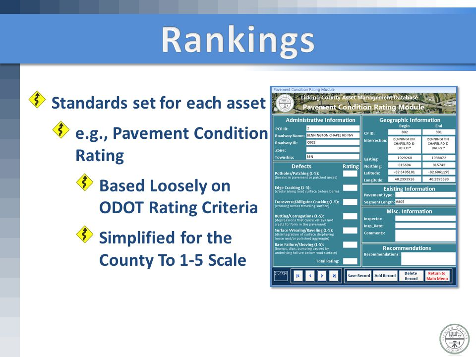 Standards set for each asset e.g., Pavement Condition Rating Based Loosely on ODOT Rating Criteria Simplified for the County To 1-5 Scale