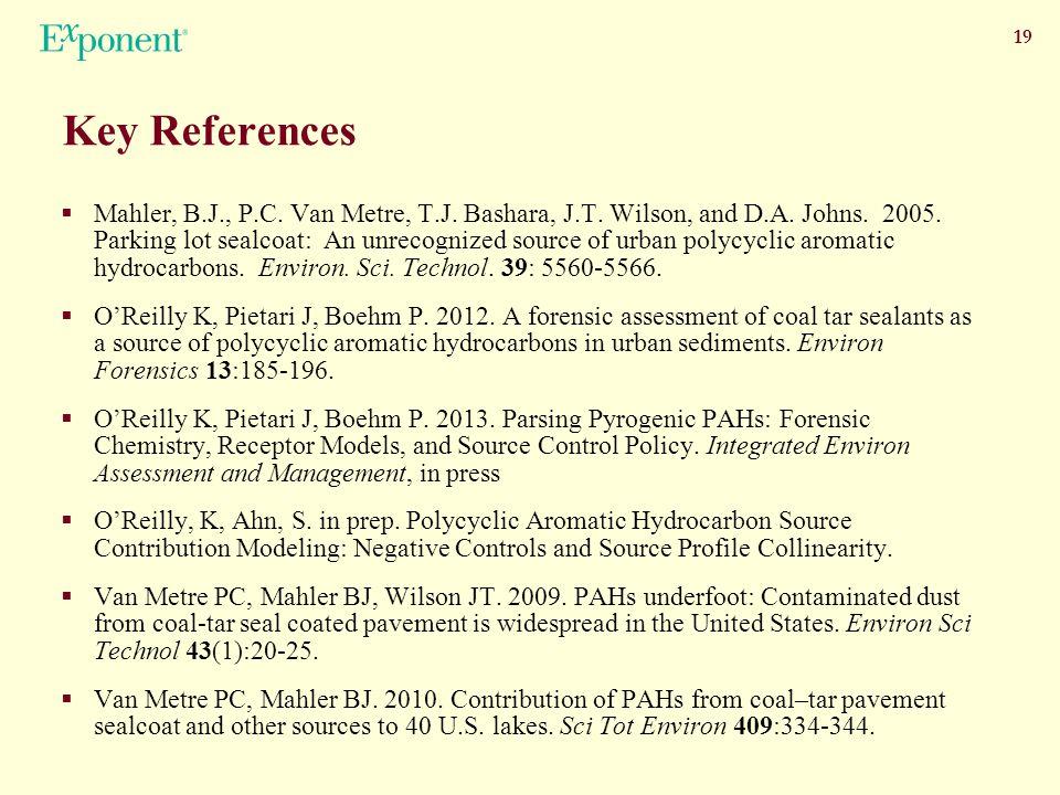 19 Key References  Mahler, B.J., P.C. Van Metre, T.J.