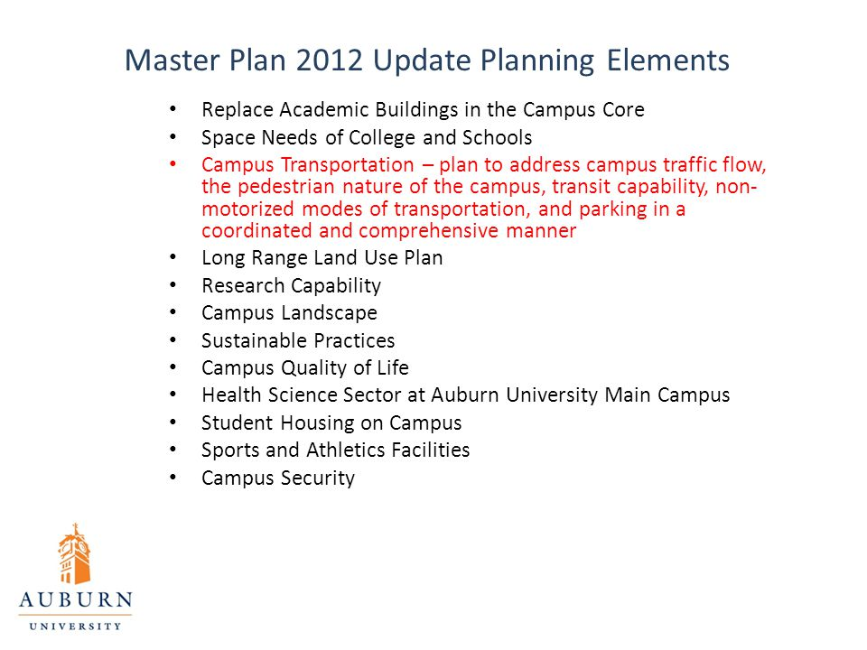 Master Plan 2012 Update Planning Elements Replace Academic Buildings in the Campus Core Space Needs of College and Schools Campus Transportation – pla