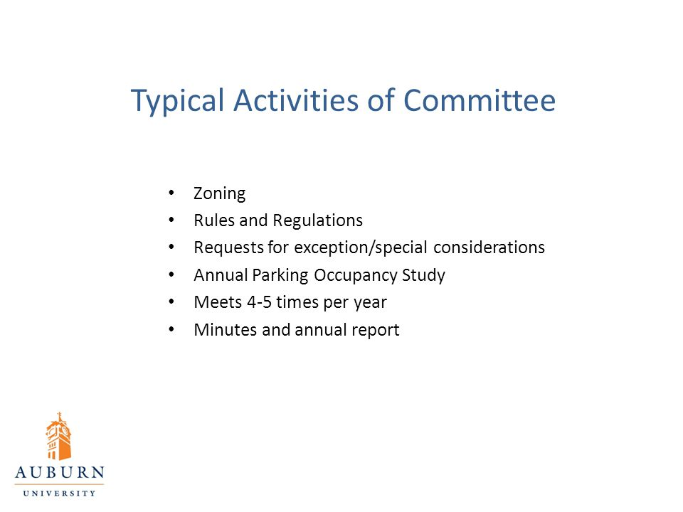 Typical Activities of Committee Zoning Rules and Regulations Requests for exception/special considerations Annual Parking Occupancy Study Meets 4-5 ti