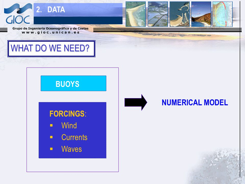 WHAT DO WE NEED 2. DATA FORCINGS :  Wind  Currents  Waves BUOYS NUMERICAL MODEL