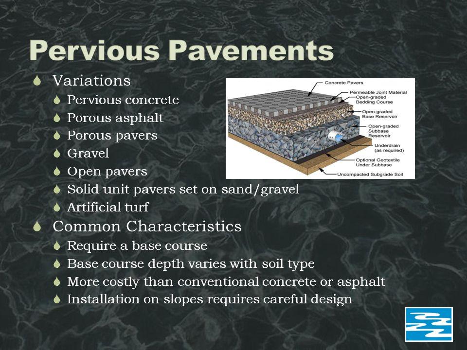  Variations  Pervious concrete  Porous asphalt  Porous pavers  Gravel  Open pavers  Solid unit pavers set on sand/gravel  Artificial turf  Co