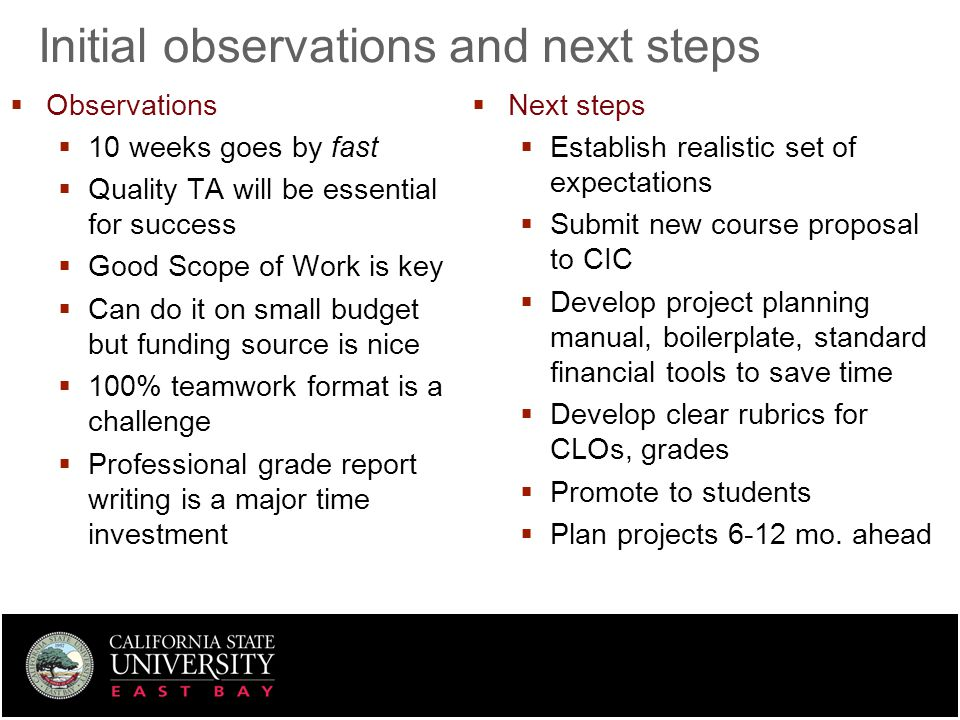 Initial observations and next steps  Observations  10 weeks goes by fast  Quality TA will be essential for success  Good Scope of Work is key  Ca