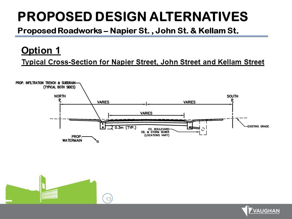 13 Option 1 Typical Cross-Section for Napier Street, John Street and Kellam Street PROPOSED DESIGN ALTERNATIVES Proposed Roadworks – Napier St., John