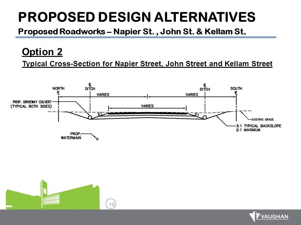 19 Option 2 Typical Cross-Section for Napier Street, John Street and Kellam Street PROPOSED DESIGN ALTERNATIVES Proposed Roadworks – Napier St., John