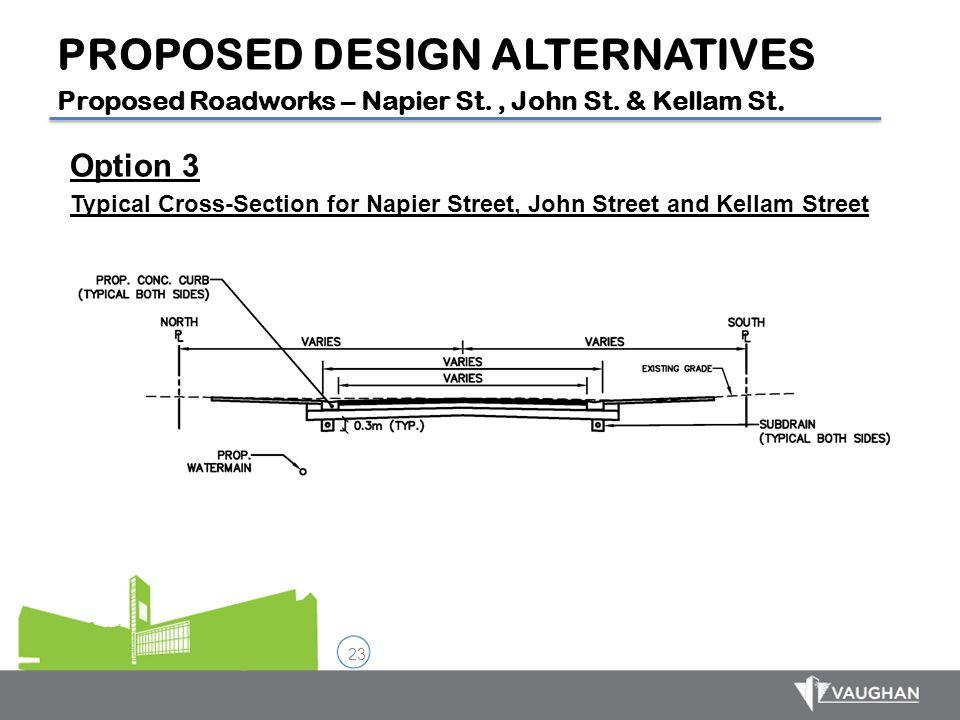 23 Option 3 Typical Cross-Section for Napier Street, John Street and Kellam Street PROPOSED DESIGN ALTERNATIVES Proposed Roadworks – Napier St., John