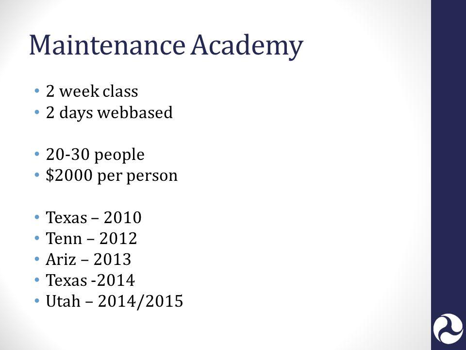 Maintenance Academy 2 week class 2 days webbased 20-30 people $2000 per person Texas – 2010 Tenn – 2012 Ariz – 2013 Texas -2014 Utah – 2014/2015