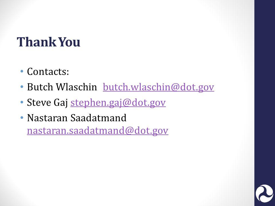 Thank You Contacts: Butch Wlaschin butch.wlaschin@dot.govbutch.wlaschin@dot.gov Steve Gaj stephen.gaj@dot.govstephen.gaj@dot.gov Nastaran Saadatmand nastaran.saadatmand@dot.gov nastaran.saadatmand@dot.gov