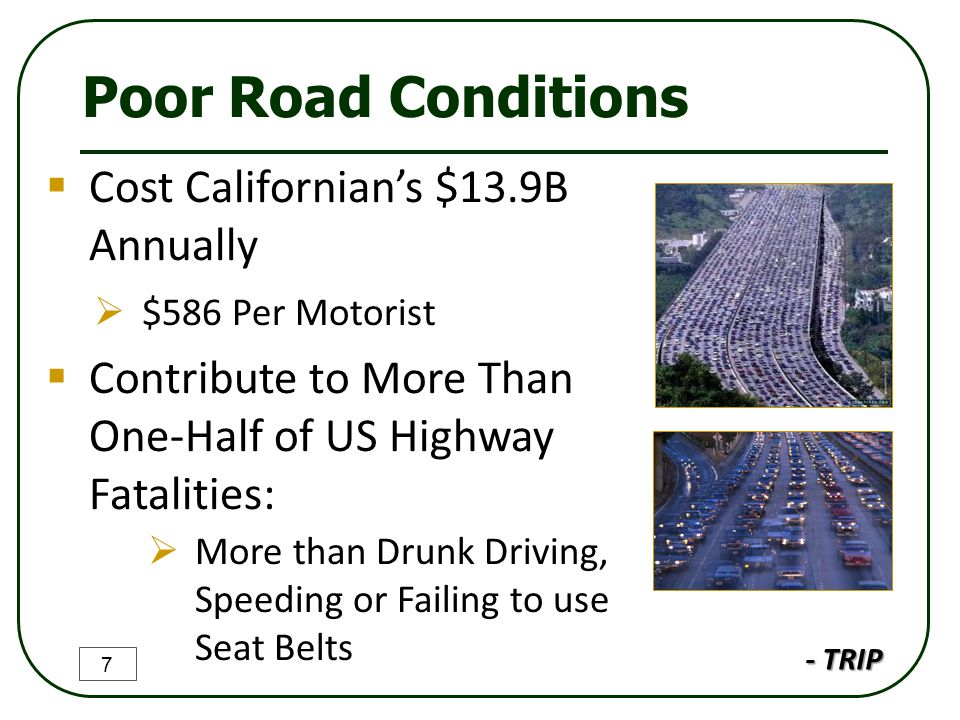 Poor Road Conditions  Cost Californian's $13.9B Annually  $586 Per Motorist  Contribute to More Than One-Half of US Highway Fatalities:  More than