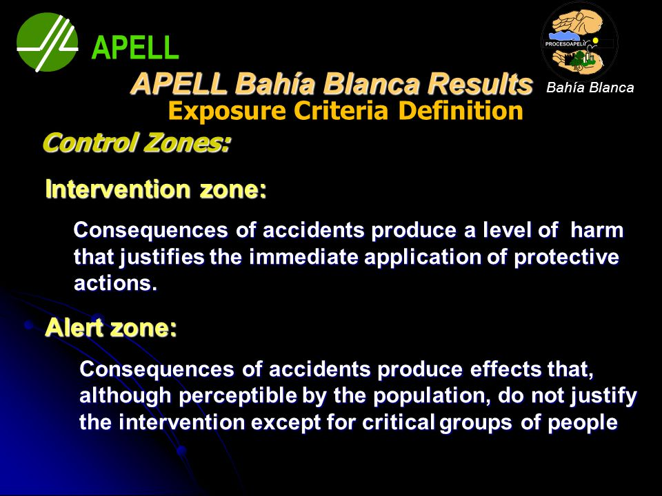 Exposure Criteria Definition Control Zones: Intervention zone: Intervention zone: Consequences of accidents produce a level of harm that justifies the