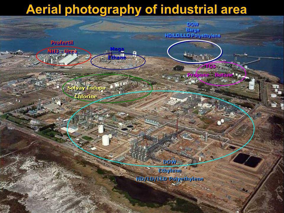 Aerial photography of industrial area Profertil NH3 - Urea Profertil NH3 - Urea Mega Ethane Mega Ethane Solvay Indupa Chlorine Solvay Indupa Chlorine DOW Ethylene HD/LD/LLD Polyethylene DOW Ethylene HD/LD/LLD Polyethylene TGS Propane - Butane TGS Propane - Butane DOW Barge HD/LD/LLD Polyethylene DOW Barge HD/LD/LLD Polyethylene