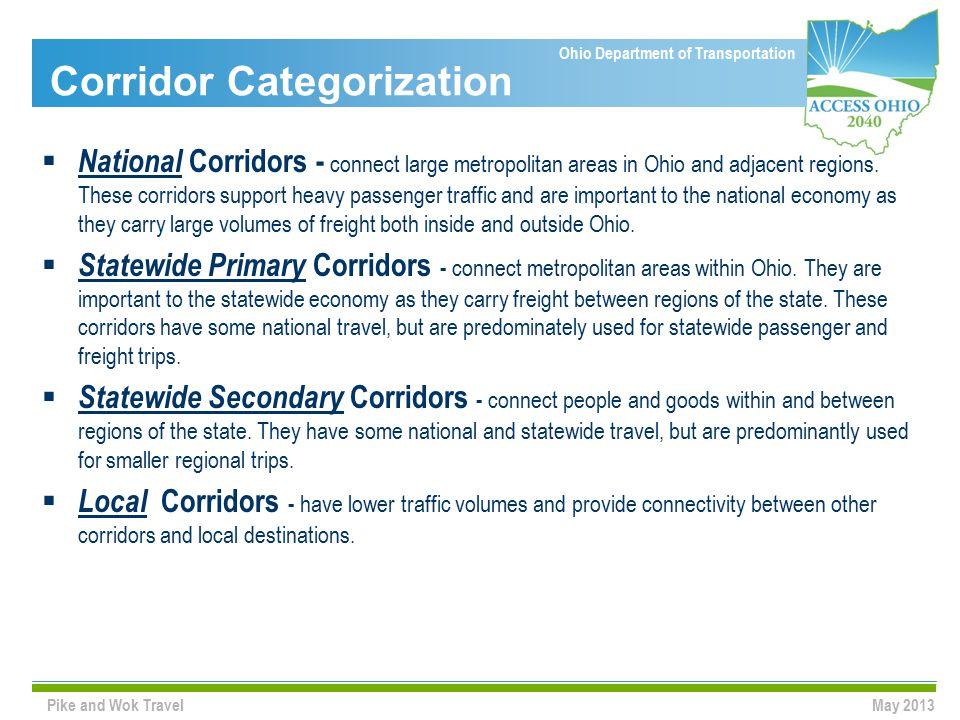 Ohio Department of Transportation Corridor Categorization  National Corridors - connect large metropolitan areas in Ohio and adjacent regions.